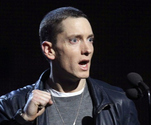 Eminem accepts his award for Best Rap Solo Performance for