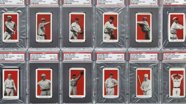 Handout photo of some of the more than 700 well­preserved 1910 baseball cards found in the attic of a house