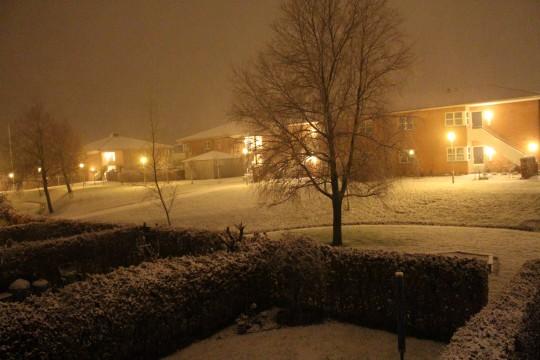 Sne over Stavtrup tidligt 1. juledag