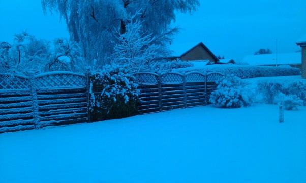 Sne, julemorgen i Thorsø